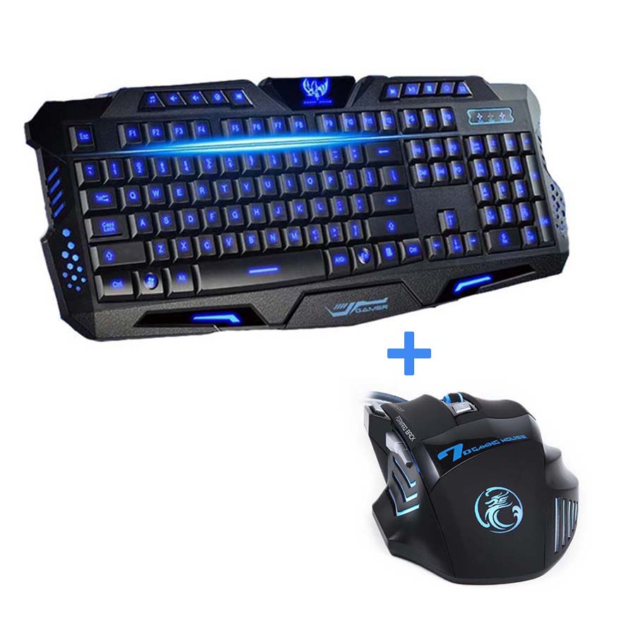 3 Color Illuminated LED Backlight Wired USB Game Keyboard For Desktop PC Laptop
